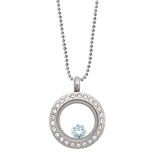 LB1032   March Swarovski Birthstone Silver Mini Living Locket Gift Set